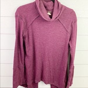 Free People Cowl Neck Split Back Thermal Top